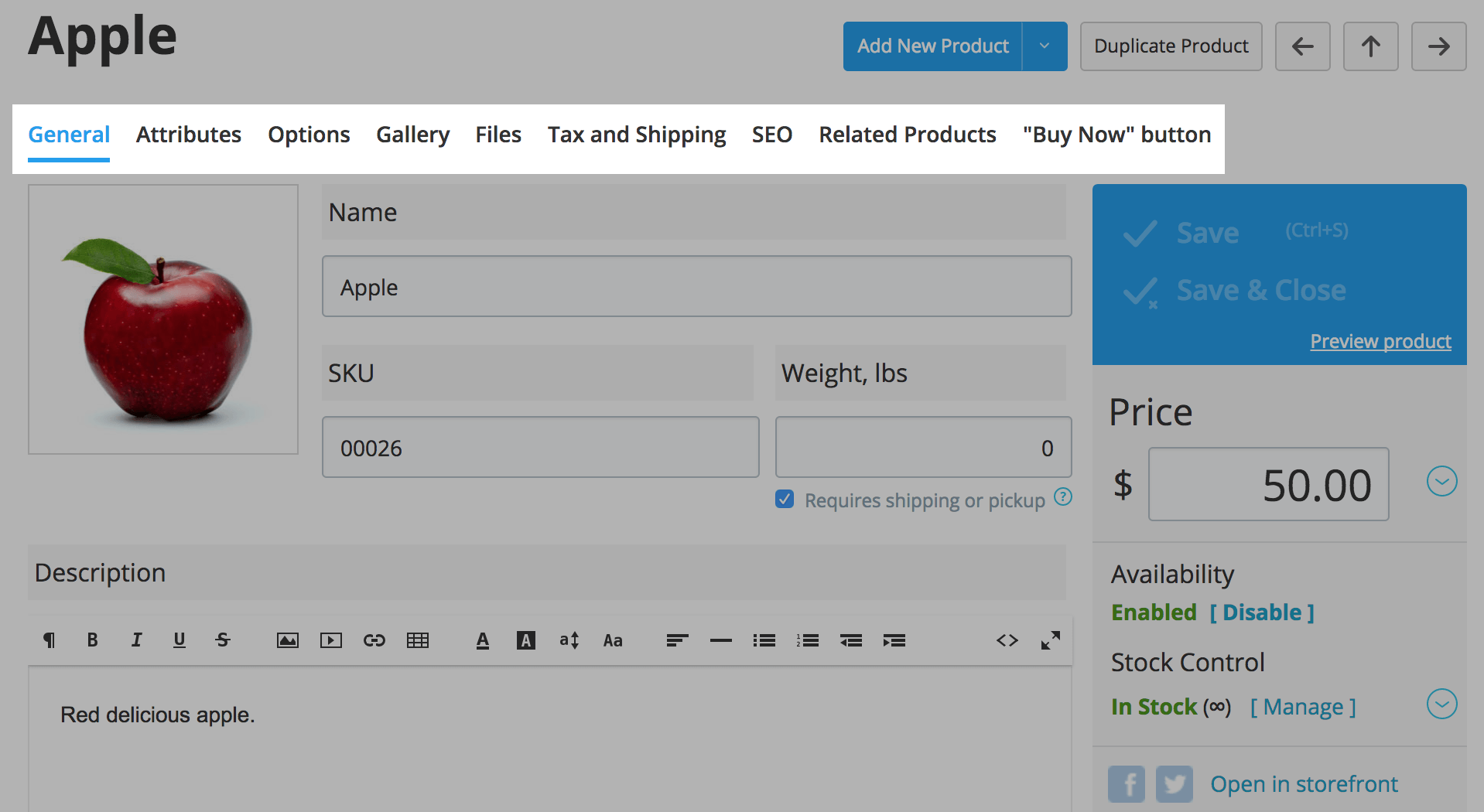 Product settings tabs in Ecwid Control Panel