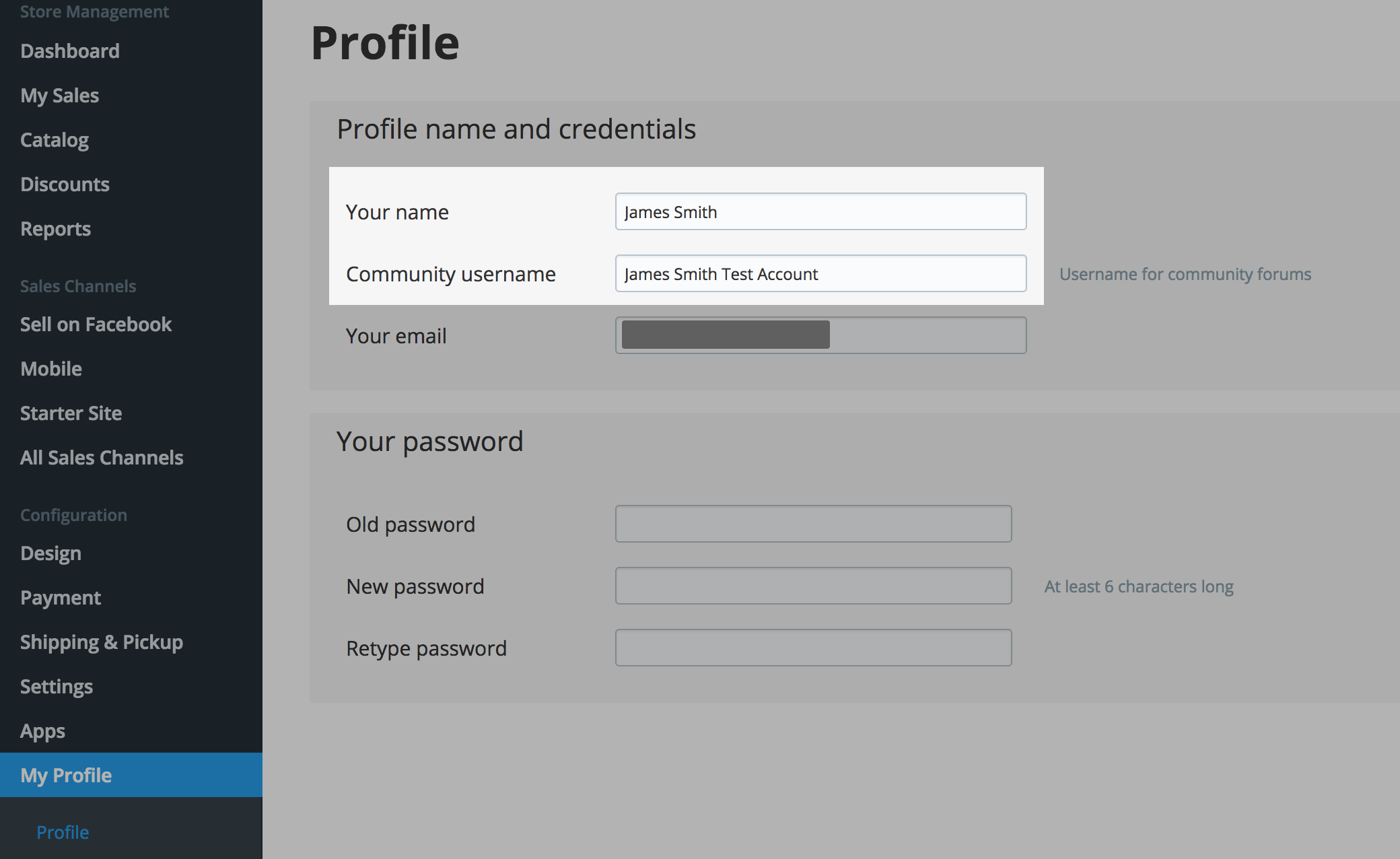 Change the name for Ecwid account