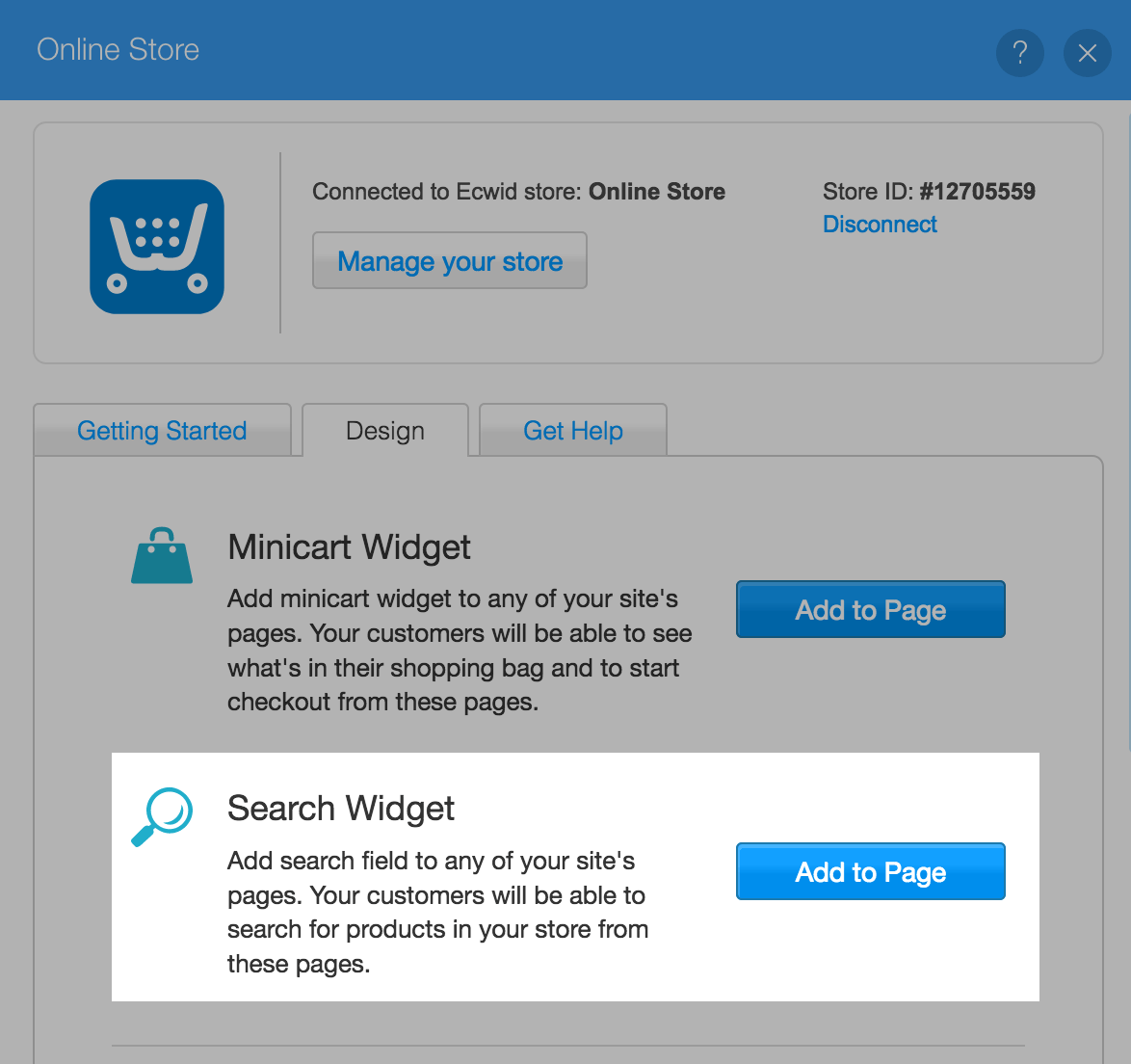 Adding search widget to Wix site