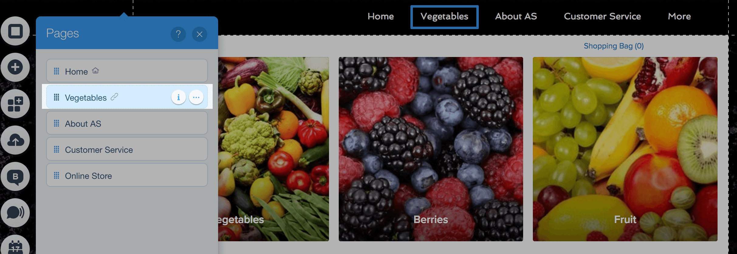Category added to menu on Wix