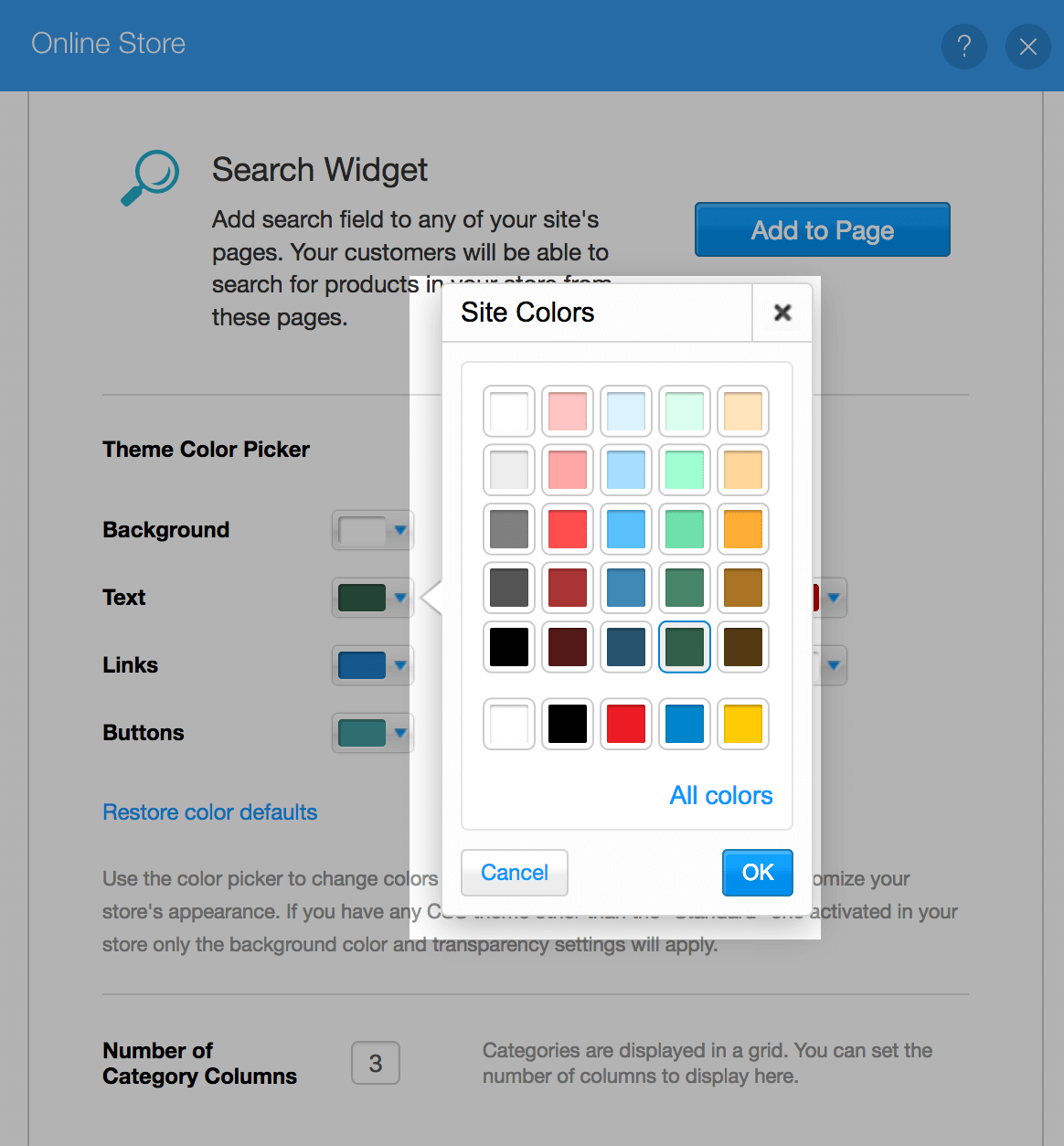 Select color on Wix