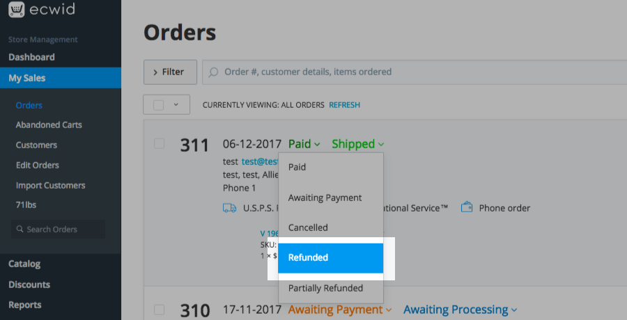 Set the order status to Refunded