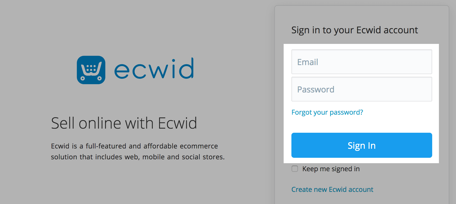 Sign in to Ecwid