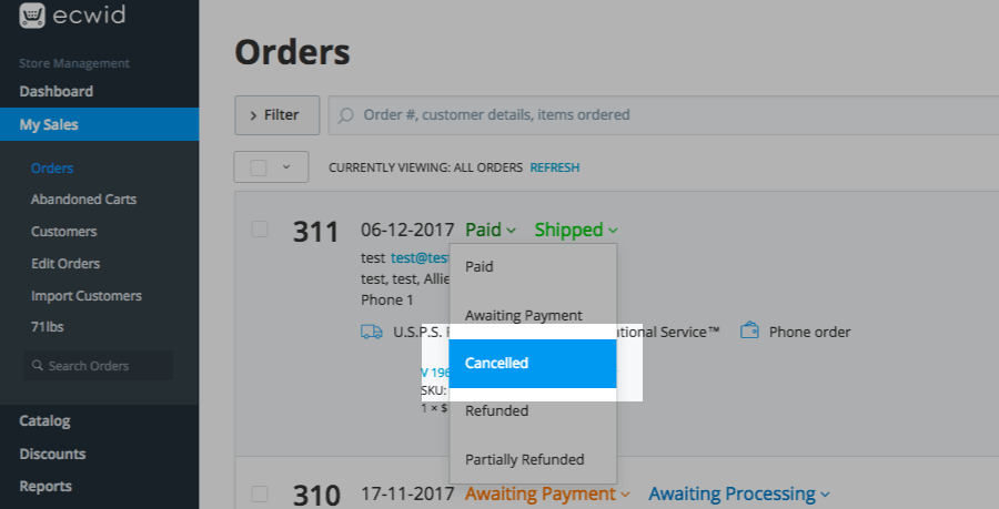 Changing order status to Cancelled