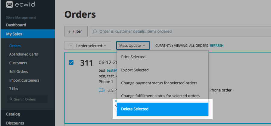 Deleting orders – Ecwid Help Center