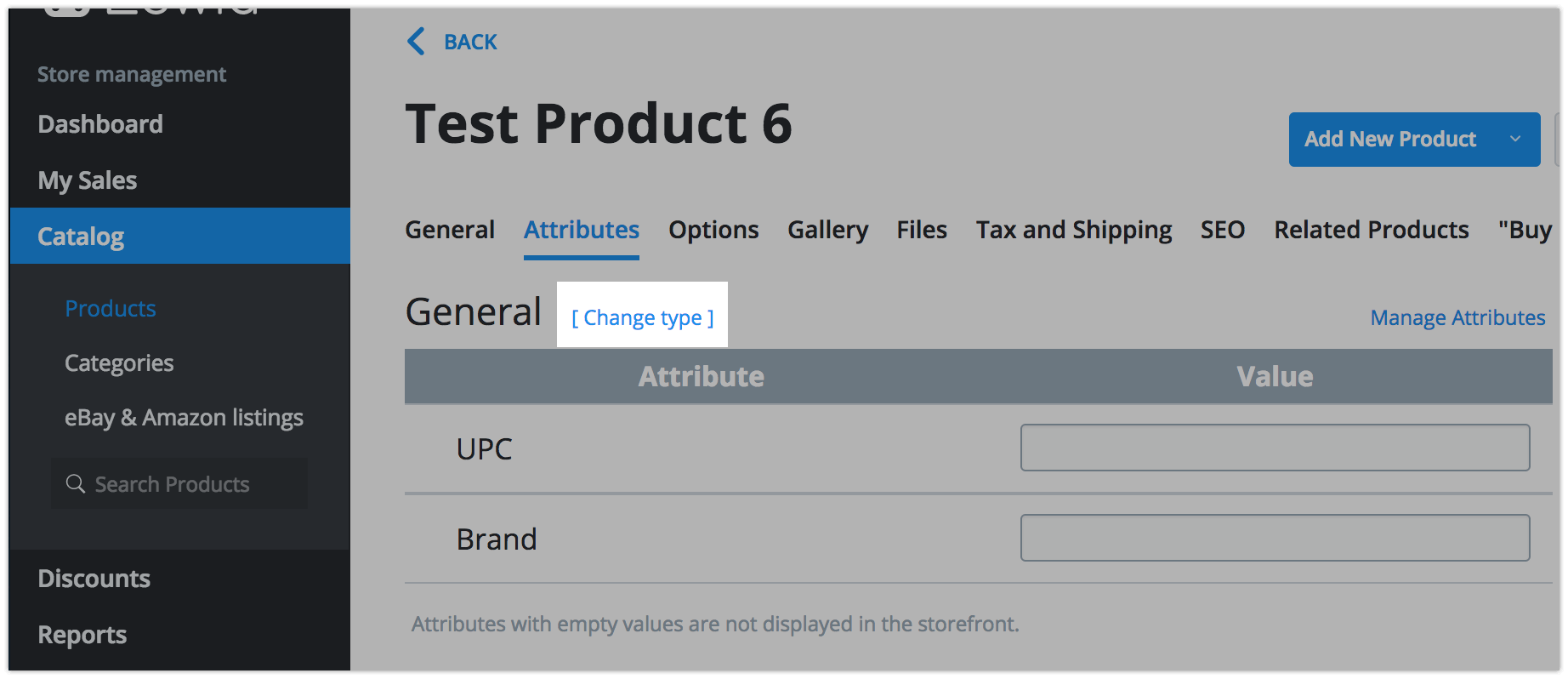 Changing the product type