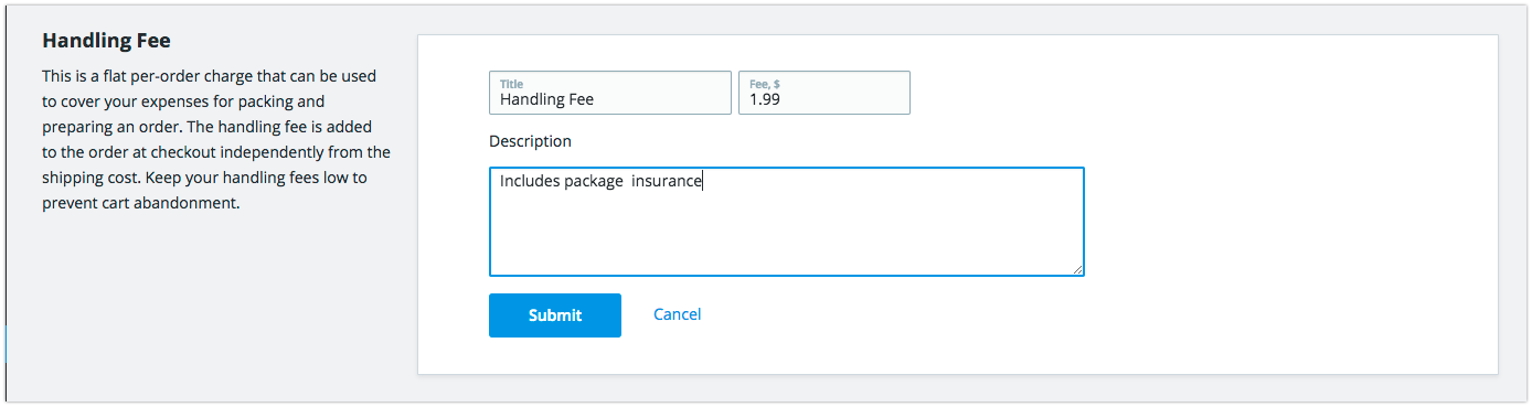 Fee Title, Amount and Description