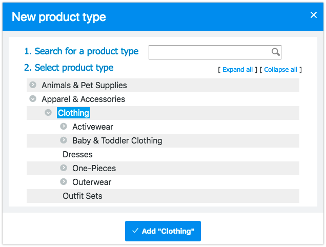 Add product type
