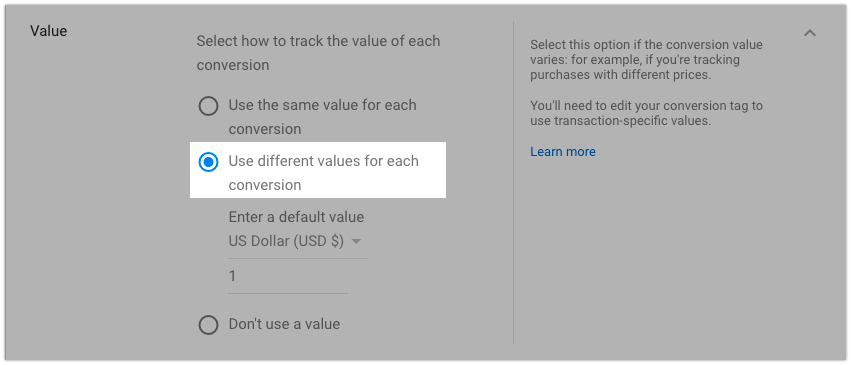 Conversion value
