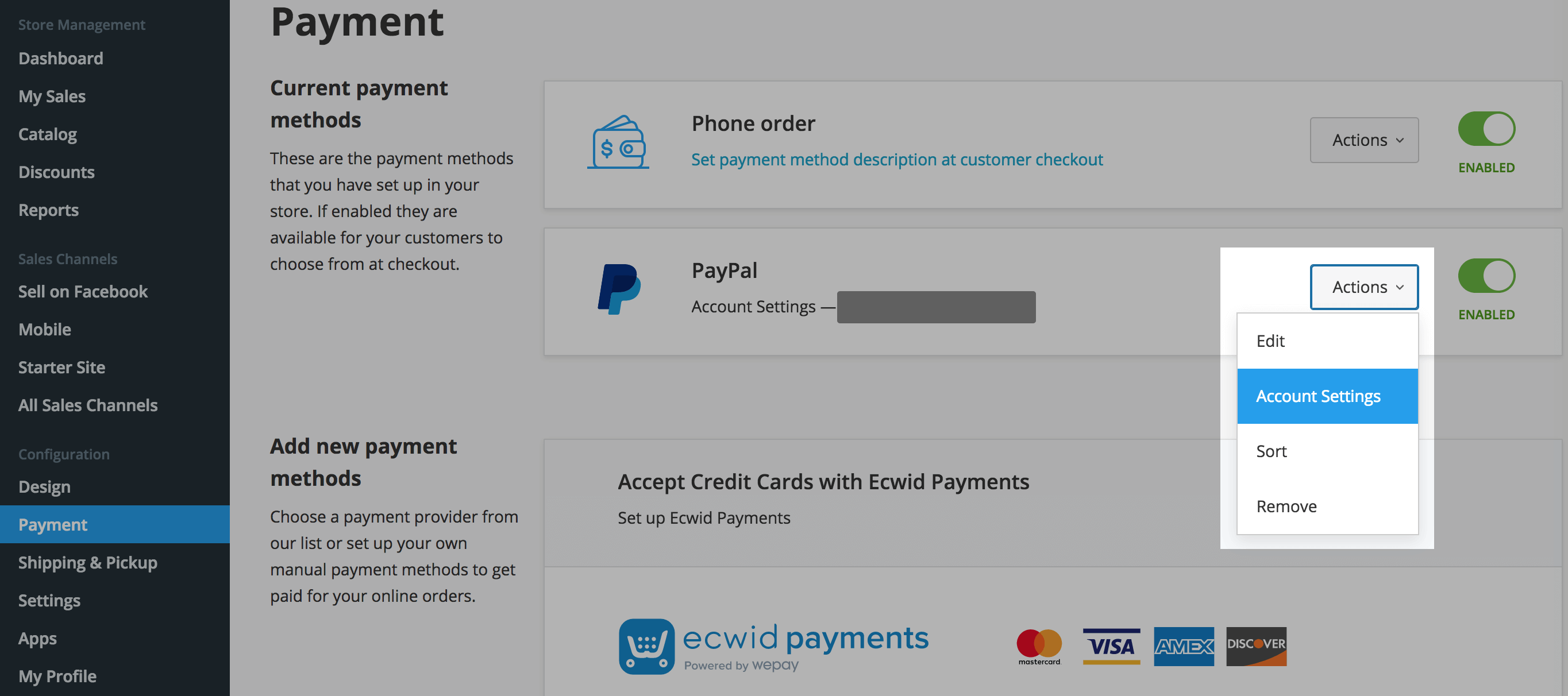 Paypal account settings in Ecwid Control Panel
