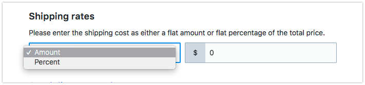 Select amount or percent