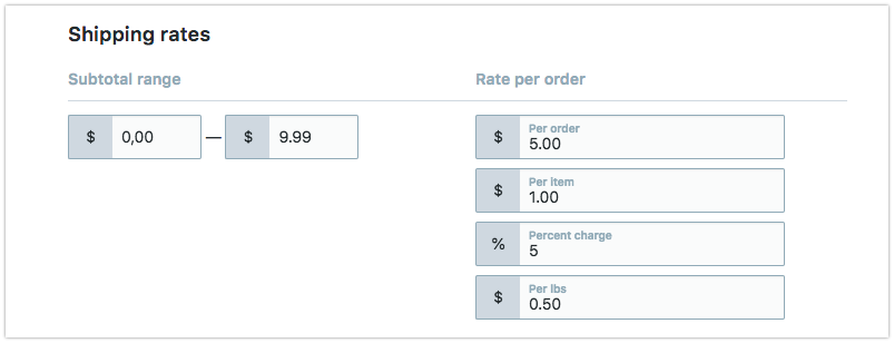 Custom shipping rates