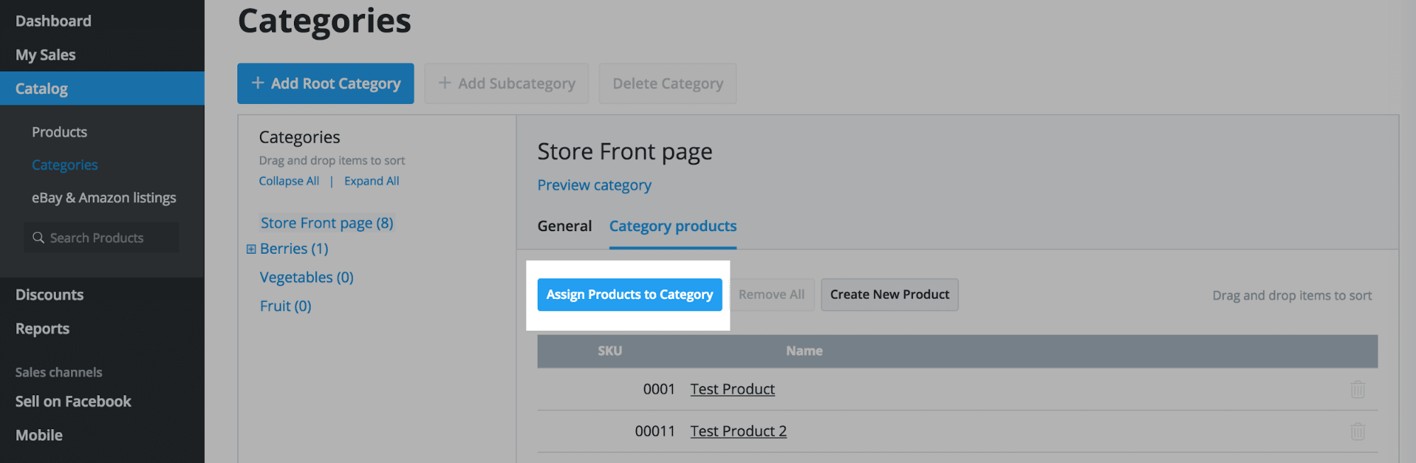 Assign Products to category
