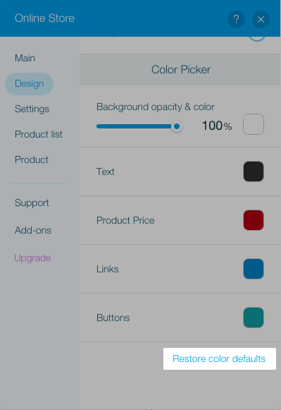 Restore color defaults