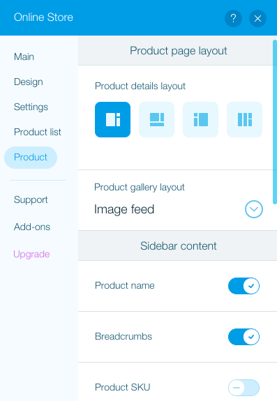 Set the product page layout