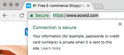 Showing that a store is secure – Ecwid Help Center