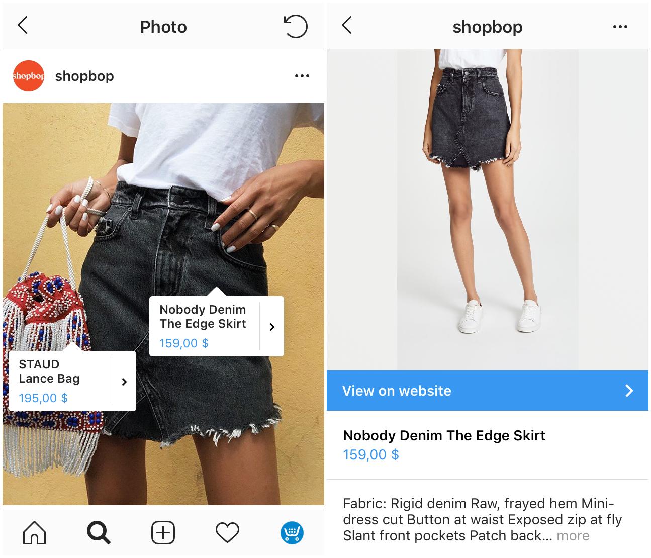 """Beispiel für """"Shoppable Posts"""" auf Instagram"""