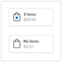 Icon, label, item count and subtotal