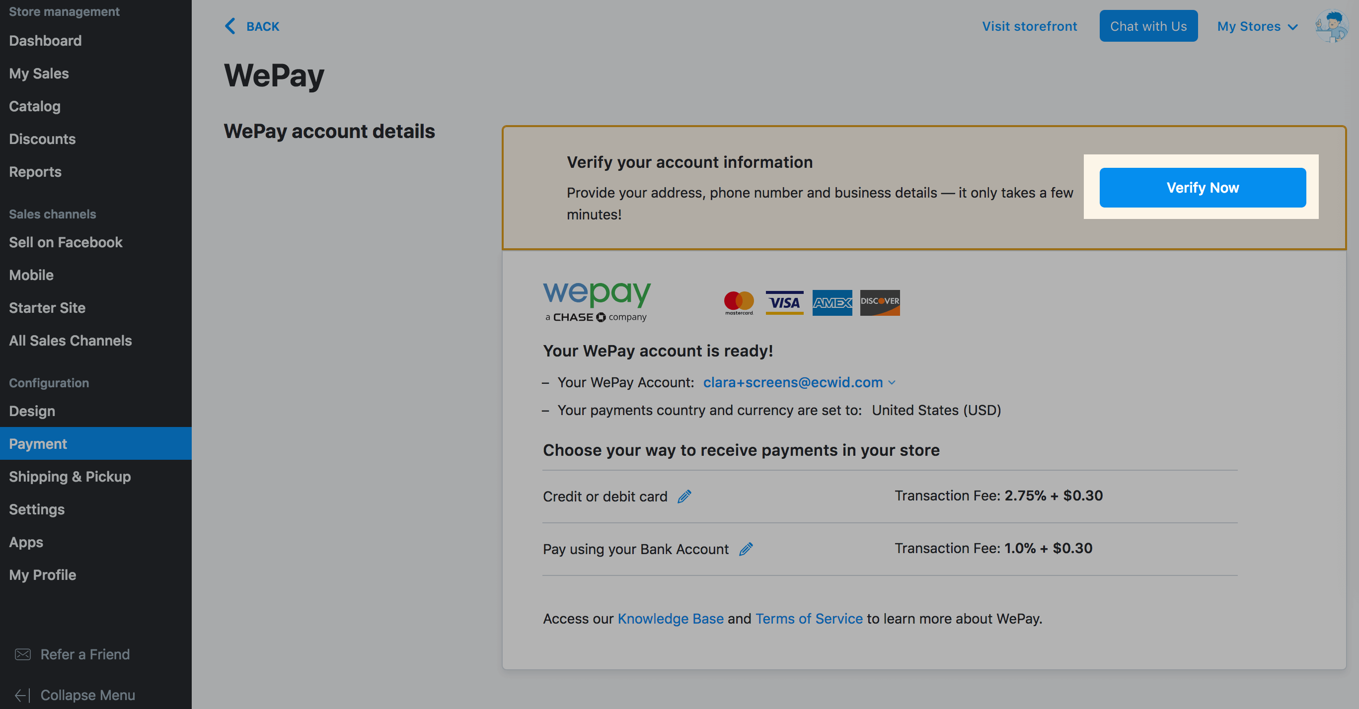 Wepay Us Canada And Uk Ecwid Help Center Wiring Money From The To Verify Your Account