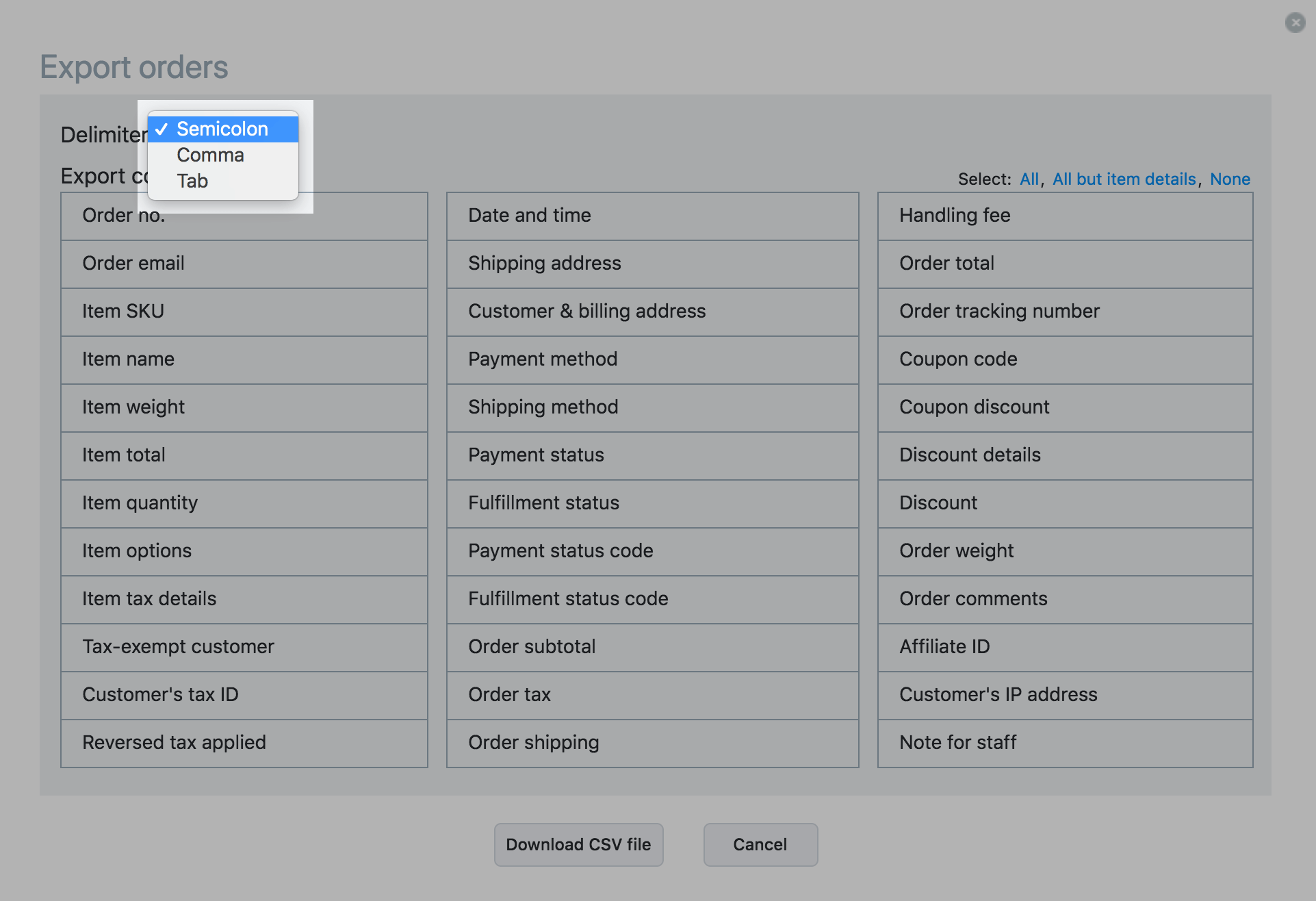 Wählen Sie das Trennzeichen für Ihre CSV-Datei aus