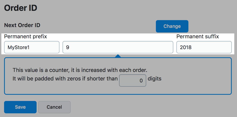 Legen Sie das Präfix und das Suffix für Ihre Bestellnummern fest
