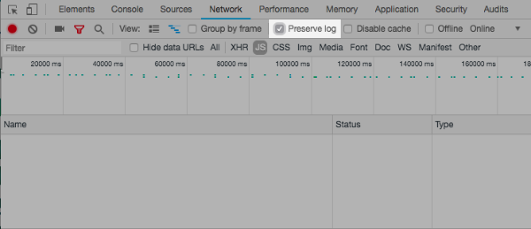 Preserve log option in Chrome