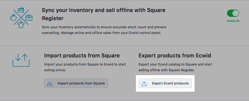Export Ecwid products