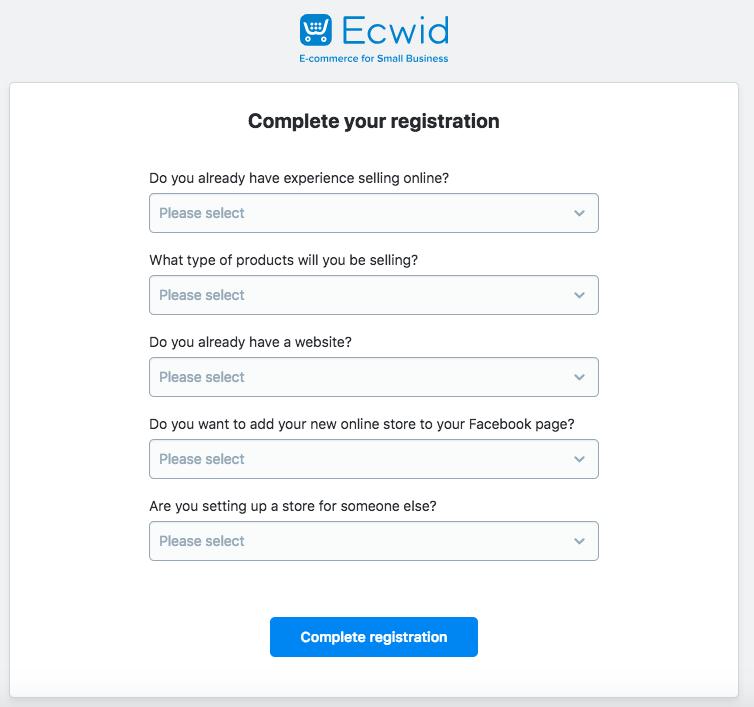 Complete el cuestionario de Ecwid