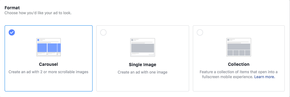Select the layout for your ad