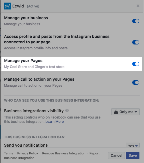Manage your pages menu