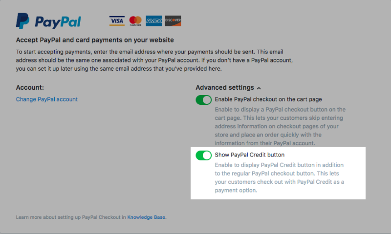 Show PayPal Credit button