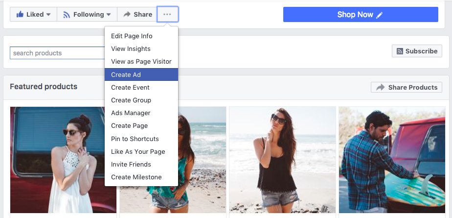 Click Create ad in your Facebook business page settings