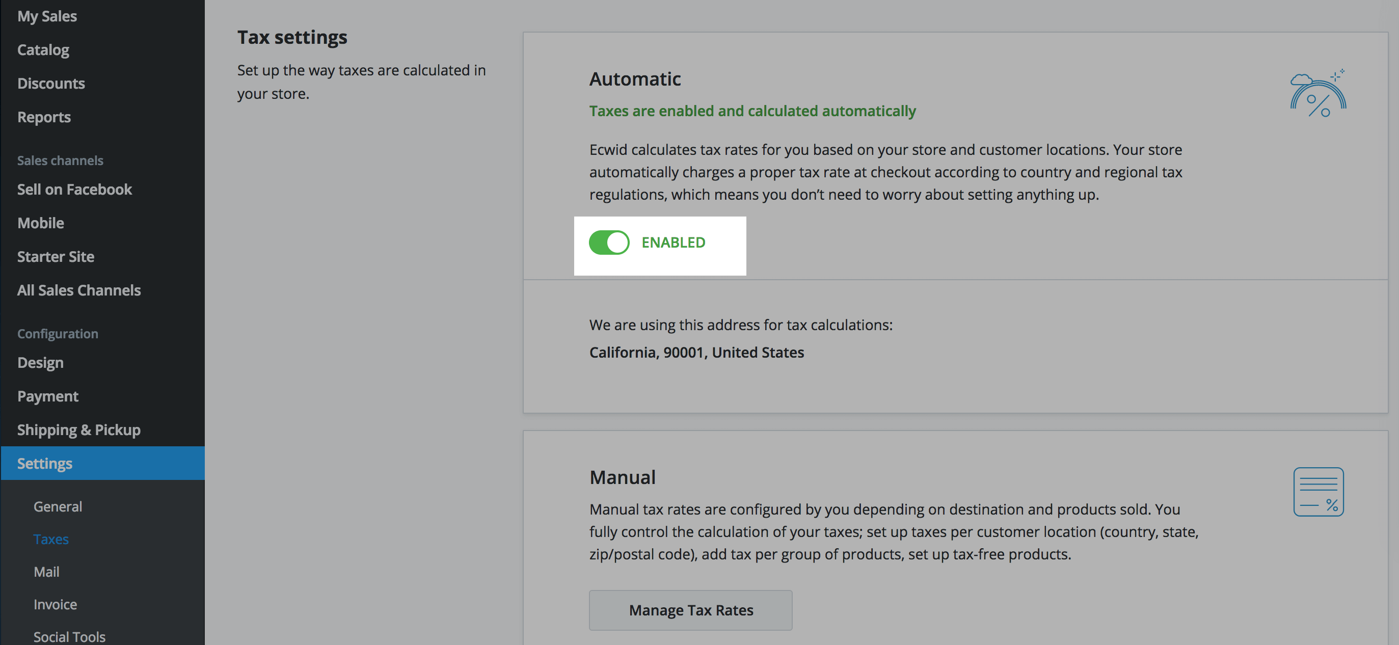 Enable automatic taxes calculation
