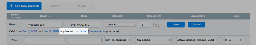 Set coupon limits
