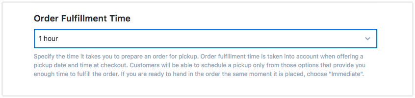 Set the order fulfilment time