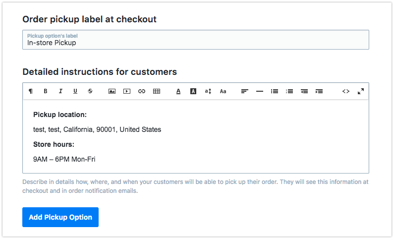 Add the method name and instructions for customers
