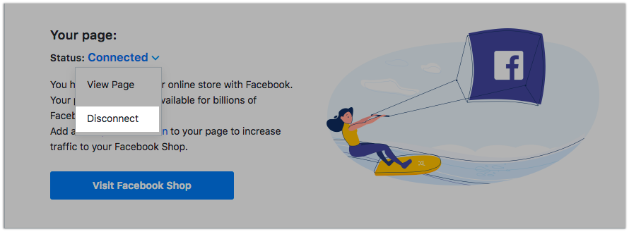 Desconectar su store de Facebook