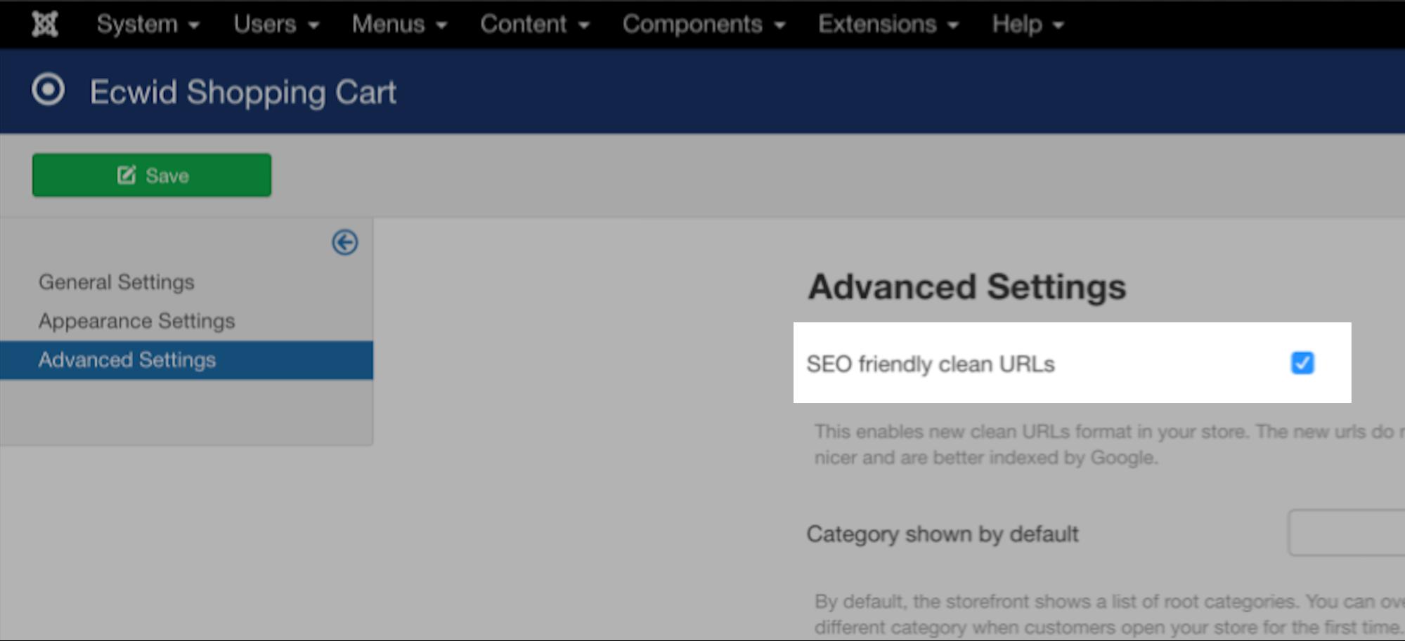 Clean store URLs in Joomla