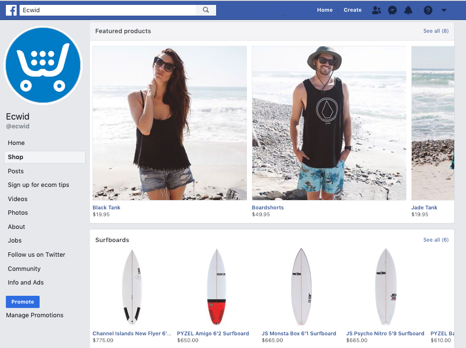 Your Ecwid store on Facebook