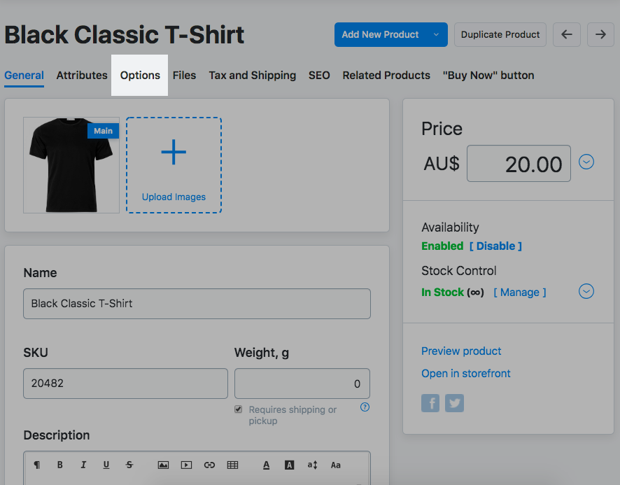 Add options in Ecwid store