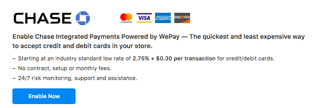 Chase Integrated Payments Powered by WePay (US, Canada and UK