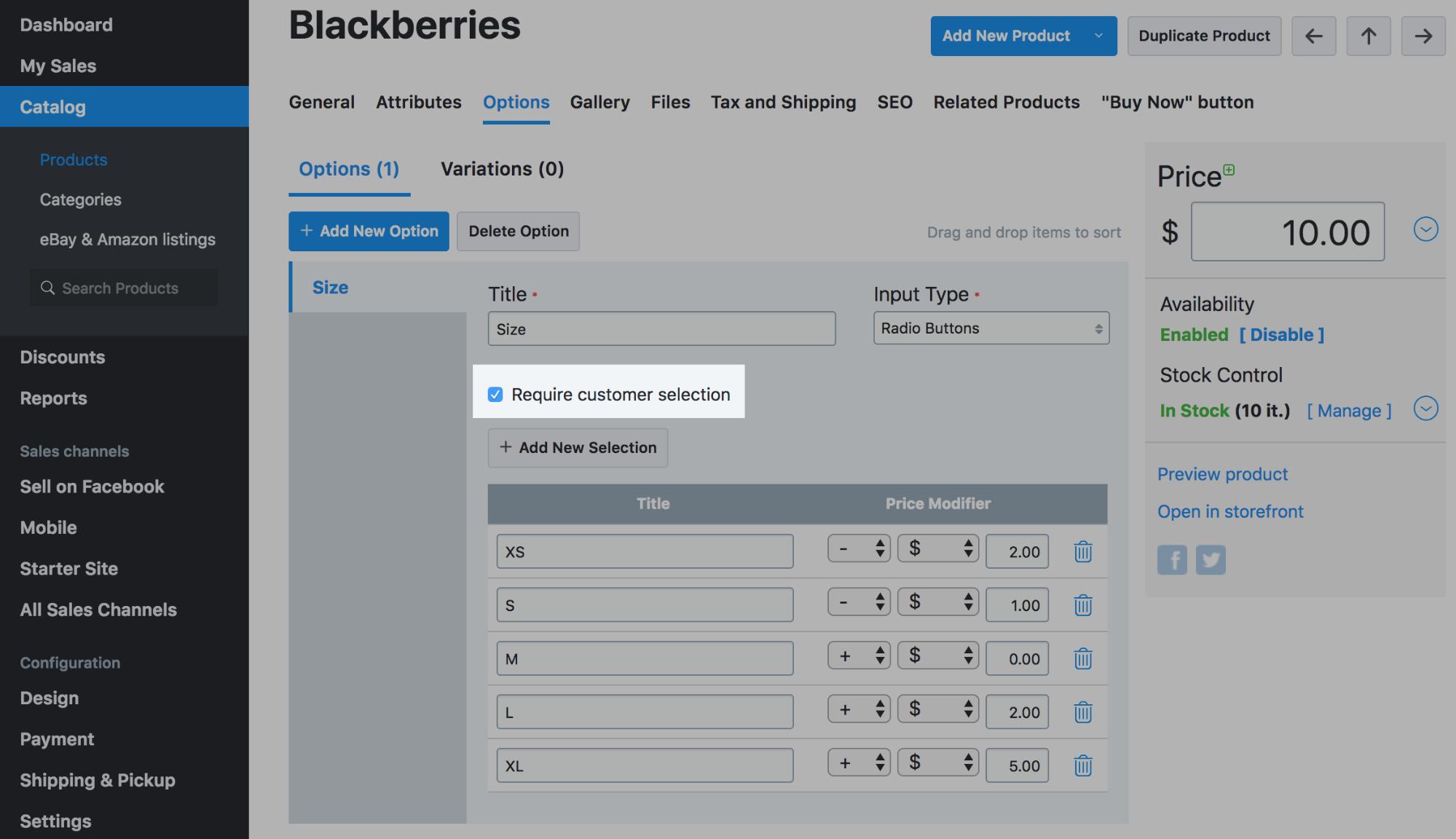 Paramètre «Require Customer Selection» (Exiger un choix de la part du client)