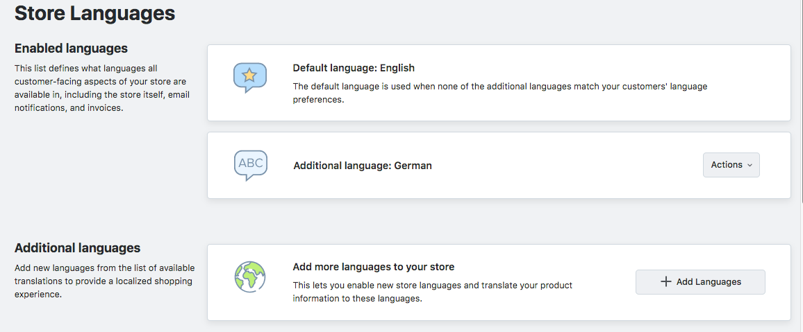 Enable languages in Ecwid