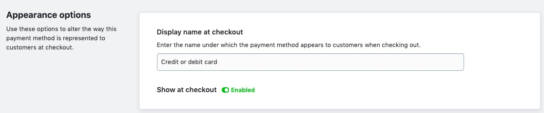 Display payment name