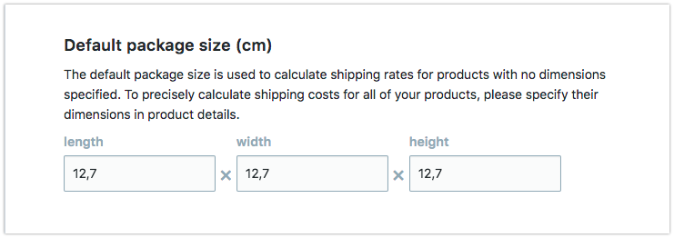 Package dimensions