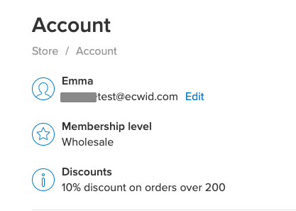 Membership in customer account