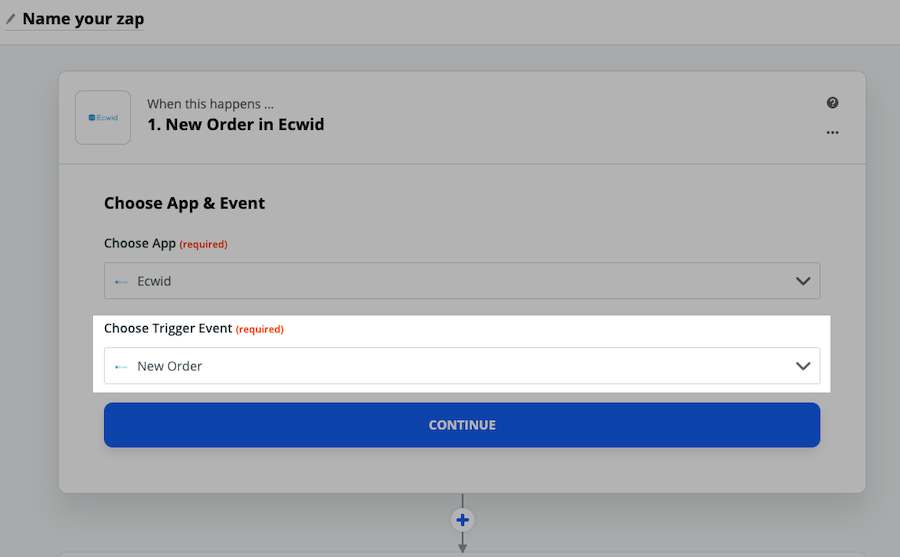 New order trigger event in zapier