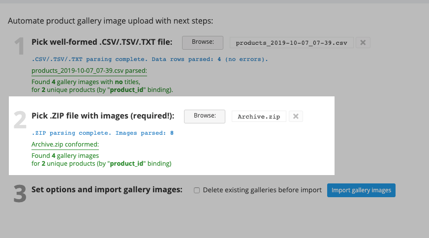 choose zip file for bulk gallery upload