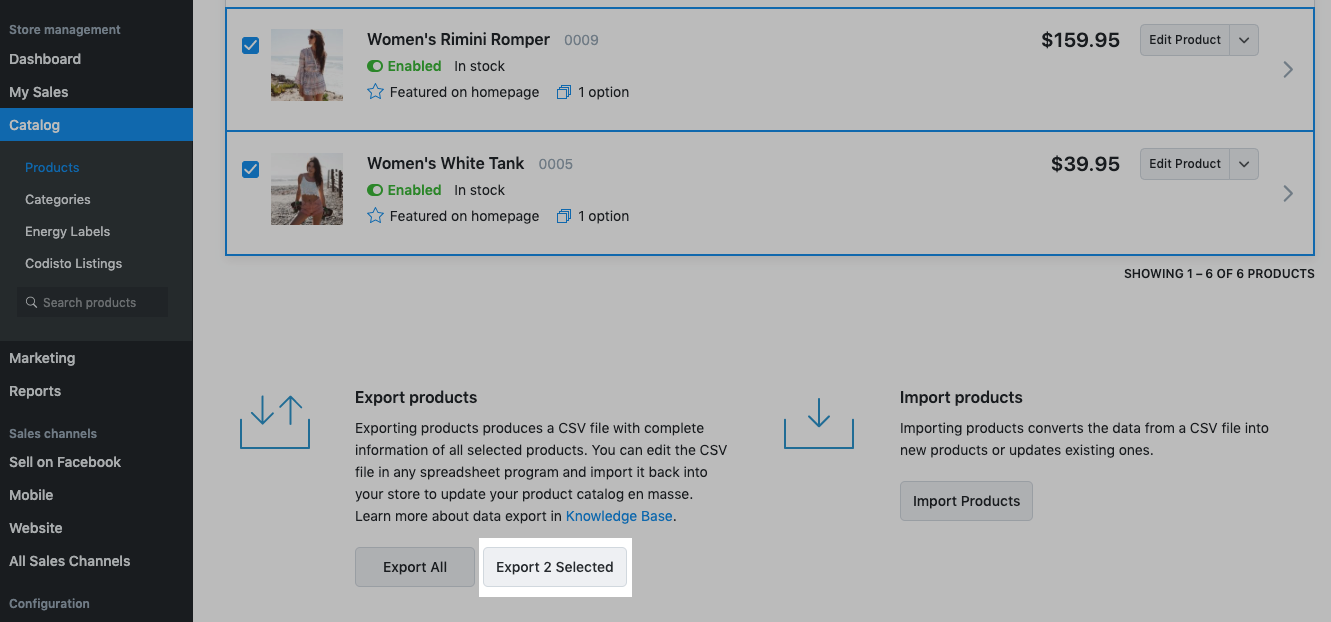 export selected products from ecwid store