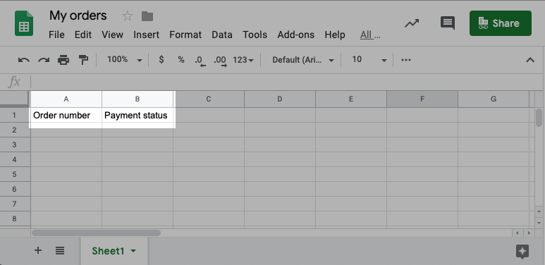 Columns in google sheet for orders